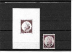 0956d: DR 1941, Mozart Essay- (Vorlagedruck?) Auf Geripptem Papier, Dazu Die Tasächlich Verausgabte Marke Gestempelt - Germany