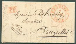 LAC De LESSINES Le 7 Janvier 1869 + Griffe PP Vers Bruxelles - 12126 - 1830-1849 (Belgique Indépendante)