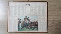 Calendrier / Almanach Des PTT - 1902 - Tribune Improvisée (courses D'Auteuil) - Oberthur - 2 Feuillets - Dpt De L'Yonne - Calendars