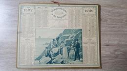 Calendrier / Almanach Des PTT - 1902 - Pointe Du Raz - Le Mauvais Pas - Oberthur - 2 Feuillets - Dpt De L'Yonne - Calendars