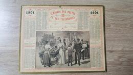 Calendrier / Almanach Des PTT - 1901 - Paris Le Matin - Marchand De Journaux - Oberthur - Calendars