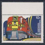 """Grenada Grenadines 1982 Mi 495 YT 455 ** """"Santa Fe"""" , USA – Famous Trains / Zug / Trein - Eisenbahnen"""