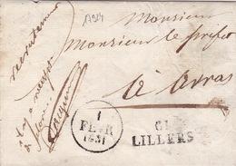 17924# 61 LILLERS 28*11mm TARDIF 1831 EN FRANCHISE Cote 110€ PAS DE CALAIS Pour ARRAS LETTRE - Marcophilie (Lettres)