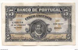 PORTUGAL 1925  CINCO ESCUDOS - Portogallo