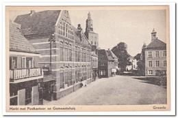 Groenlo, Markt Met Postkantoor En Gemeentehuis - Groenlo