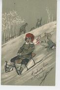 ENFANTS - Jolie Carte Fantaisie Gaufrée Enfants Aux Sports D'hiver , Glissade En Luge (embossed Postcard) - Ritratti