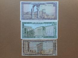 Lebanon 1,5,10 Livres 1974,1986 (Lot Of 3 Banknotes) - Lebanon