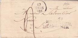 17930# 61 MONTREUIL / SUR MER 42*17mm 1828 Cote 30€ PAS DE CALAIS Pour LILLE NORD LETTRE - 1801-1848: Precursors XIX