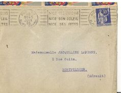 NIce :lettre Avec Flamme  Et Vignette Sur Les Fêtes De Février-mars 1939 - Postmark Collection (Covers)