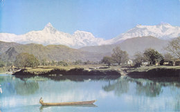 NEPAL - COLOUR PICTURE POST CARD - PHEWA LAKE, POKHARA WITH MACHAPUCHARE AND ANNAPURNA II - COMMERCIALLY SENT TO INDIA - Nepal