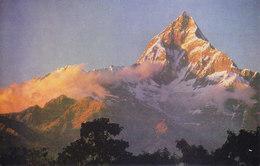 NEPAL - COLOUR PICTURE POST CARD - PEAKS OF MACHHAPUCHHARE, POKHRA  - TOURISM / TRAVEL THEME - Nepal