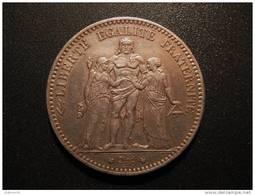 5 Francs Hercule 1877 A, Argent, SPL - J. 5 Francos