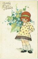 Illustrateur : Castelli. Fille & Fleurs. Bonne Année. - Castelli