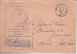 """29240 Brest Naval 1981 """"B.E.M.Henri Poincaré Officiel Le Capitaine De Vaisseau..."""" - Postmark Collection (Covers)"""