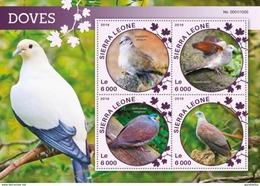 SIERRA LEONE 2016 SHEET DOVES PALOMOS COLOMBES COLOMBE TAUBEN BIRDS AVES PALOMAS POMBAS PASSAROS Srl16119a - Sierra Leone (1961-...)