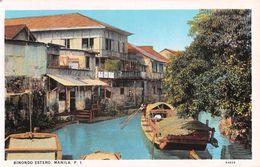 """D6259 """"FILIPPINE - BINONDO ESTERO. MANILA P.I.""""  ANIMATA, BARCHE.   CART  NON  SPED - Filippine"""