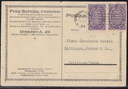 DR Werbekarte Fritz Schütz, Chemiker Mef Minr.2x 255 Dresden 31.8.23 Geprüft - Deutschland