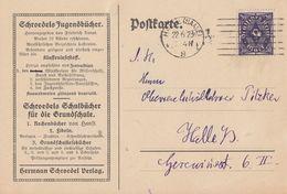 DR Werbekarte Hermann Schroedel Verlag EF Minr.230 Halle 22.6.23 - Allemagne