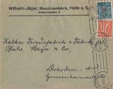 DR Werbebrief Wilhelm Jäger Halle Mif Minr.163,170 Halle 8.2.22 - Deutschland