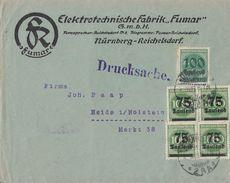 DR Werbebrief Elektrotechnische Fabrik Fumar Nürnberg Mif Minr.4x 288,290 Nürnberg 4.10.23 - Deutschland