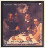 "St. Vincent 2004 Mi B 639 ** ""Three Men At A Table"" By Diego Rodriguez De Silva / Gemälde - Hermitage - Kunst"