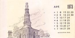 INDIA - RARE AND OLD PAPER CALENDAR - APRIL 1973 -  PRINTED HAND SKETCH - KUTAB MINAR, NEW DELHI - ANTIQUE ITEM - Calendars