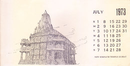 INDIA - RARE AND OLD PAPER CALENDAR - JULY 1973 -  PRINTED HAND SKETCH - NEW SOMENATH TEMPLE, GUJRAT - ANTIQUE ITEM - Calendars