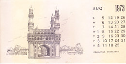 INDIA - RARE AND OLD PAPER CALENDAR - AUGUST 1973 -  PRINTED HAND SKETCH - CHARMINAR, HYDERABAD - ANTIQUE ITEM - Calendars