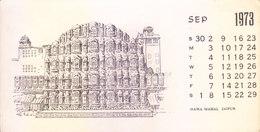 INDIA - RARE AND OLD PAPER CALENDAR - SEPTEMBER 1973 -  PRINTED HAND SKETCH - HAWA MAHAL, JAIPUR - ANTIQUE ITEM - Calendars