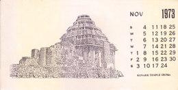 INDIA - RARE AND OLD PAPER CALENDAR - NOVEMBER 1973 -  PRINTED HAND SKETCH - KONARK TEMPLE, ORISSA - ANTIQUE ITEM - Calendars