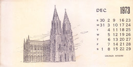INDIA - RARE AND OLD PAPER CALENDAR - DECEMBER 1973 -  PRINTED HAND SKETCH - CHURCH, MYSORE - ANTIQUE ITEM - Calendars