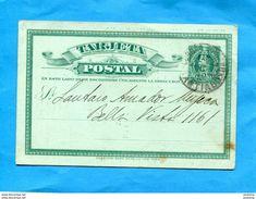 "Marcophilie-CHILI- Cp Entier Postal""1c Vert-colomb- Cad Santiago 1900-RARE  ""Bolsa Filatelica""tarif Timbres Collection - Chile"