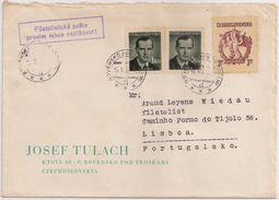 Ceskoslovensko Czechoslovakia Cover Circulated 1950 - Josef Tulach - Cancel Rovensko Pod Troskami And Filatelisticka - Briefe U. Dokumente