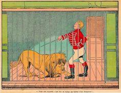 Gravure Benjamin RABIER 24 X 19 Environ Le Trait Sur La Gravure Est Un Défaut Du Scan Cirque Dompteur Lion - Affiches