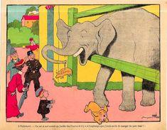 Gravure Benjamin RABIER 24 X 19 Environ Le Trait Sur La Gravure Est Un Défaut Du Scan éléphant - Affiches