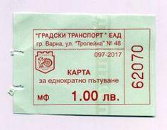 Ticket De Bus - Varna - Bulgarie Bulgaria Bulgarien 2017 - Bus