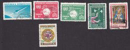 Dominican Republic, Scott #598, 605-606, 611-613, Used, Rocket, UPU, Lily, Virgin, Flags, Issued 1964-65 - Dominicaanse Republiek