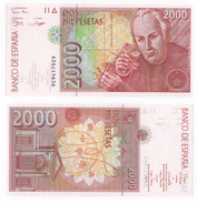 REPLACEMENT, 2000 Pesetas 9c9. UNC. Crispy Paper! - [ 4] 1975-… : Juan Carlos I