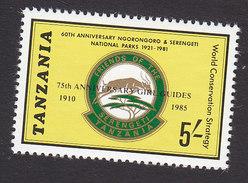 Tanzania, Scott #301, Mint Hinged, National Parks Overprinted, Issued 1986 - Tanzania (1964-...)