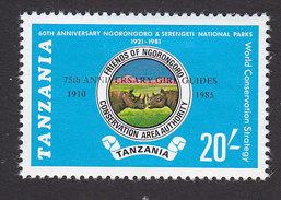 Tanzania, Scott #302, Mint Hinged, National Parks Overprinted, Issued 1986 - Tanzania (1964-...)