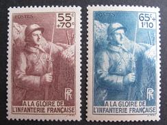 LOT DF/624 - 1938 - MONUMENT A LA GLOIRE DE L'INFANTERIE - N°386 à 387 NEUFS** - Cote : 17,00 € - Unused Stamps