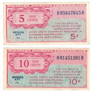 United STATES Of America , 5-10 Cents , Series 471, VF+ , FREE SHIP. TO USA. - Military Payment Certificates (1946-1973)