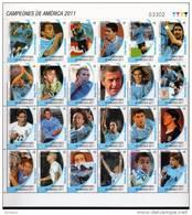 1234 URUGUAY 2011-Plancha   De Los CAMPEONES DE LA COPA AMÉRICA ARGENTINA 2011. - Uruguay