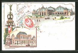 Lithographie Frankfurt, Hauptbahnhof, Wappen, Börse, Manskopf-Uhrturm - Frankfurt A. Main
