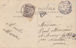 YONNE CP 1904 TAXE 10C DUVAL OBLIT T84 AVALLON ( ORIGINE PARIS) NON TIMBREE - Marcophilie (Lettres)
