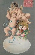DEUX ANGEL AVEC DES ROSES → Carte Postale Anno 1907 - Anges