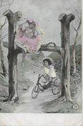 Enfant à Vélo→ Carte Postale Ca.1900 - Humorvolle Karten