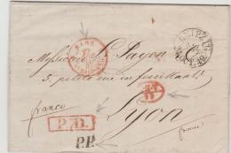 SAC028 / Leipzig 1849 Nach Lyon über Strassburg Mit PD + PP In Seltener Kombination - Sachsen