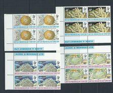 BIOT 1972 Coral Formations Set 4 MNH As Imprint Blocks Of 4 - British Indian Ocean Territory (BIOT)