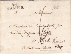 17952# 61 SAMER 22*9mm Cote 110€ PAS DE CALAIS LETTRE Pour DICK VERVIERS BELGIQUE DEPARTEMENT CONQUIS ROER - Marcophilie (Lettres)